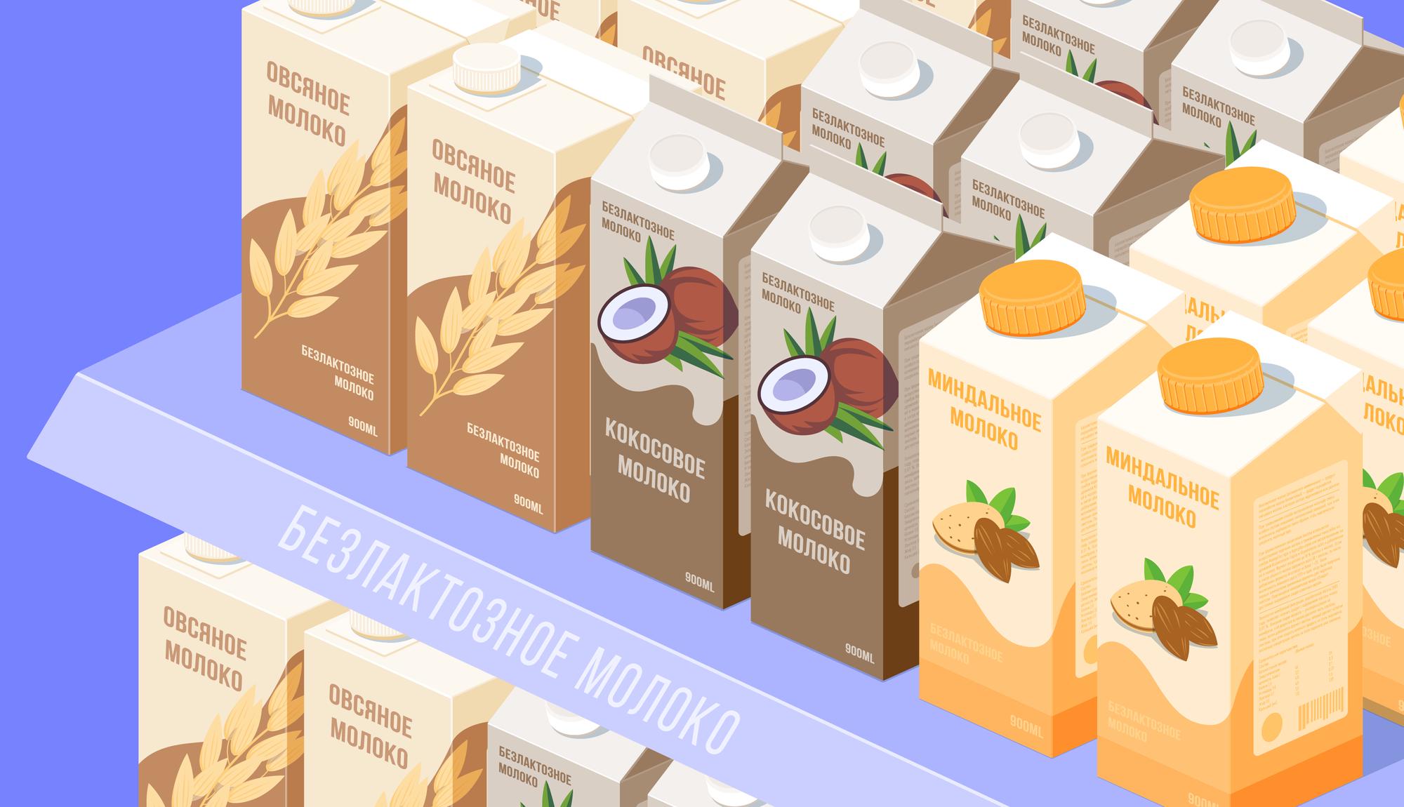 Растительное молоко: кокосовое, соевое, миндальное, овсяное